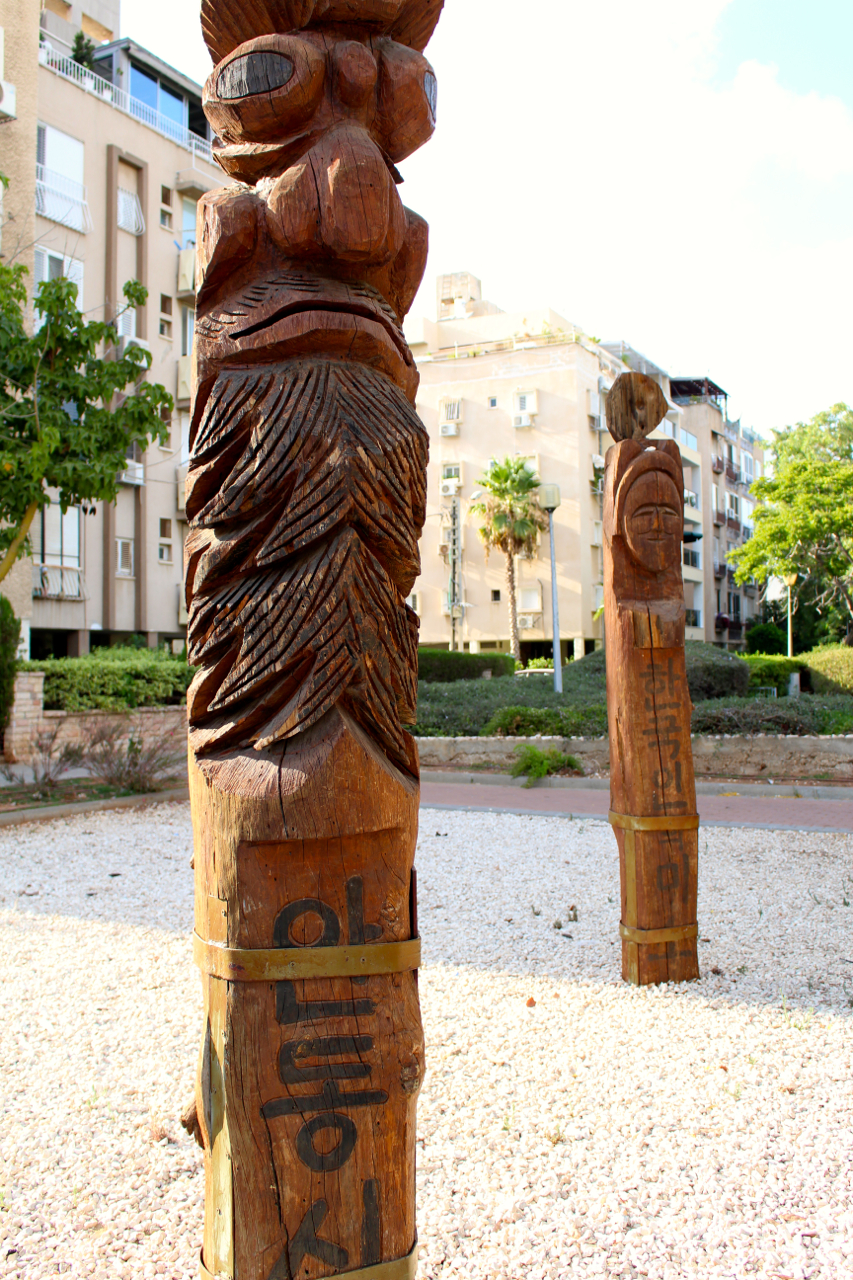 two of the totem poles